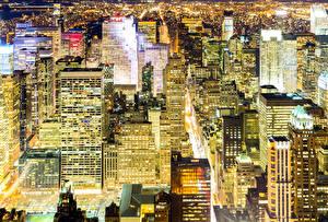 Фотографии Штаты Небоскребы Нью-Йорк Мегаполис Ночные Города