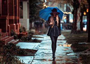 Фото Зонт Шляпа Улица Rainy day Девушки