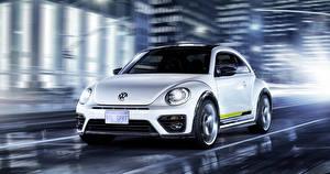 Обои Volkswagen Белый Спереди 2015 Beetle R-Line Concept Автомобили