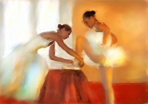 Фотографии Рисованные Картина Балет Preparing for the Ballet Девушки