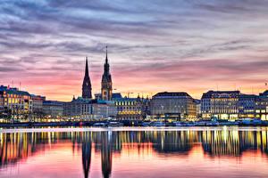 Картинка Германия Здания Реки Рассветы и закаты Пирсы Гамбург