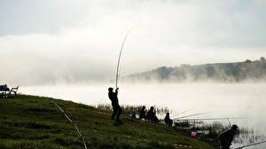 Обои Реки Рыбалка Туман Спорт