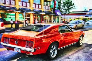 Фото Форд Красных Сзади Mustang Muscle car автомобиль