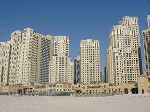 Обои Дома Дубай Объединённые Арабские Эмираты Небоскребы Песок город