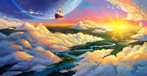 Фото Планеты Корабль Реки Облачно Фантастика