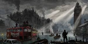 Обои Англия Конец света Лондон Биг-Бен Фантастика Города