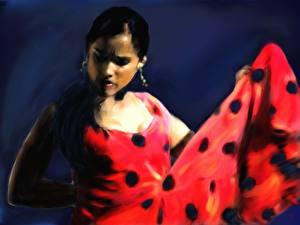 Фотографии Живопись Рисованные Танцуют The Flamenco Dancer молодые женщины