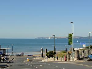 Картинки Море Побережье Англия Дороги Улица Bournemouth Города