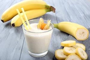 Обои Напитки Коктейль Бананы Стакан Пища