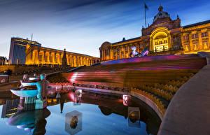 Обои Великобритания Фонтаны Скульптуры Лондон Дворец Лестница Ночью Birmingham Города