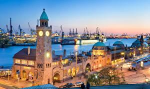 Фотография Германия Дома Причалы Корабли Гамбург Башня