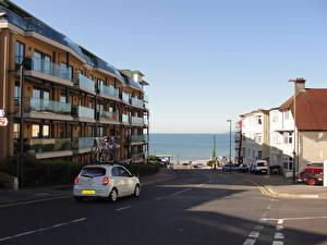 Картинки Здания Море Англия Дороги Улица Bournemouth Города