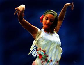 Картинка Живопись Рисованные Танцы Flamenco Dancer in White Девушки