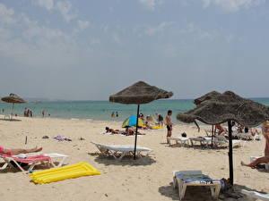 Фотографии Море Тунис Пляж Зонт Hammamet Города