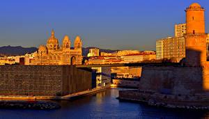 Фото Франция Дома Реки Мост Храмы Марсель город