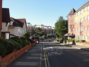 Картинка Дома Лето Англия Дороги Улица Bournemouth Города