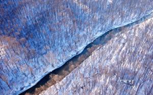 Обои США Леса Реки Зима Сверху Virginia Природа фото
