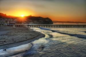 Обои Рассветы и закаты Побережье Море США Причалы Лучи света HDR Солнце Лос-Анджелес Santa Monica Visit Photowalk Hans Zimmer and Talks at Google and Stanford Города Природа фото