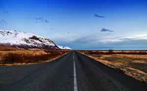 Фотография Исландия Дороги Горы Небо Природа