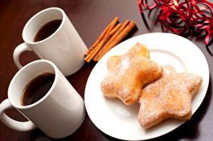 Обои Печенье Кофе Крупным планом Кружка Тарелка