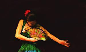 Фотография Картина Рисованные Танцы The Flamenco Dancer's Fan Девушки