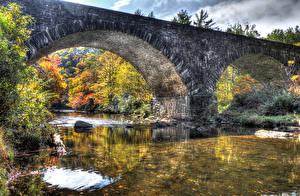 Фотография Америка Реки Мосты Парк Осенние HDR Babcock State Park Природа