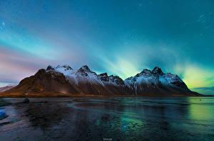 Картинки Исландия Гора Небо Ночь Лед Vestrahorn Stockksness Природа
