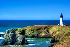 Обои США Побережье Маяки Камни HDR Yaquina Head Природа фото