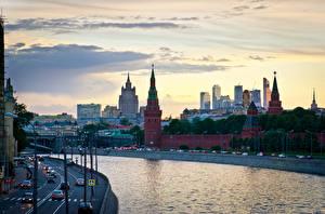 Картинки Москва Россия Речка Водный канал Города