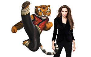 Фотографии Кунг-фу Панда Angelina Jolie Тигры Tigress Мультики Знаменитости Девушки Животные