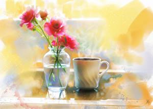 Фото Розы Кофе Картина Вазы Чашка Пища Цветы