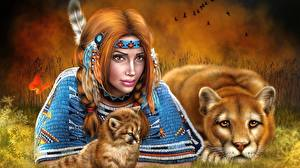 Обои Рисованные Пумы Перья Индейцы Рыжая