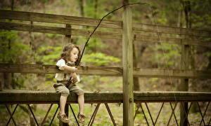 Обои Рыбалка Удочка Девочки Ребёнок