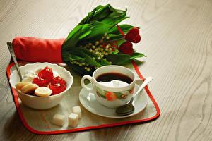 Фотографии Напиток Кофе Сладости Букет Ландыши Продукты питания Цветы