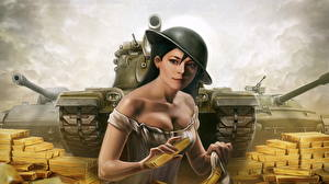 Фото WOT Танк Золото Слитка компьютерная игра Девушки