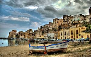 Фотография Италия Лодки Здания Сицилия Набережной Castellammare del Golfo город