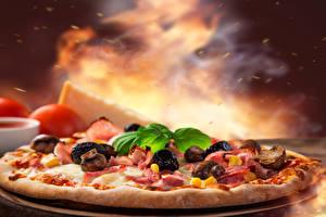 Фото Быстрое питание Пицца Грибы Еда