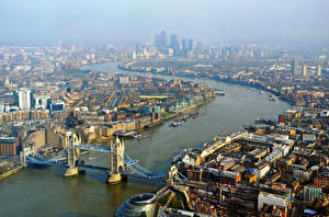 Фото Великобритания Дома Река Мост Англия Лондон Сверху город