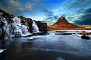 Обои Исландия Горы Водопады Киркьюфетль гора Вулканы Природа