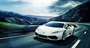 Фото Lamborghini Дороги Белый Люксовые Движение Huracan LP640-4 Машины