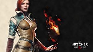 Фотография The Witcher The Witcher 0: Wild Hunt Огонь Книга Triss Merigold Девушки