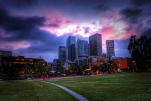 Картинки Штаты Дома Небо Лос-Анджелес Газоне HDR Города