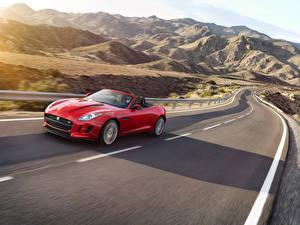Картинка Jaguar Горы Дороги Красный Кабриолет Металлик Едущий 2016 F-Type S convertible AWD Авто Природа