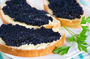 Картинки Морепродукты Икра Бутерброды Еда