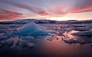 Фотография Исландия Рассветы и закаты Лед Природа
