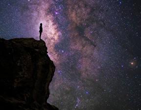 Фотографии Звезды Небо Силуэт Скала Ночь Universal Thoughts Isaac Gautschi Космос