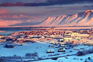 Фотография Исландия Зима Дома Снегу Reykjavík город