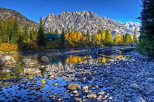 Фотография США Осенние Озеро Река Горы Камень HDRI grand teton wyoming Природа