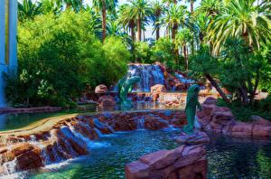 Картинки США Парки Водопады Лас-Вегас Пальмы Природа