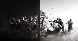 Обои Rainbow Six Мужчины Ружьё Автоматы Tom Clancy's Rainbow Six: Siege Осада Щит Шлем Дверь Игры фото